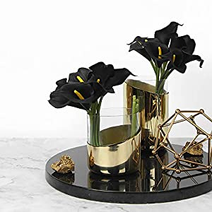 Luyue Calla Lily Bridal Wedding Bouquet Head Lataex Real Touch Flower Bouquets Pack of 20 (Black) 4