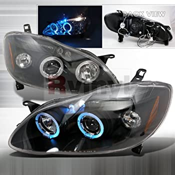Spec-D Tuning 2LHP-COR03JM-TM Toyota Corolla Black Led Projector Halo Head Lights
