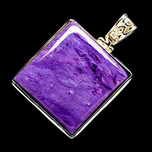 """Ana Silver Co Charoite Pendant 1 3/4"""" (925 Sterling Silver) - Handmade Jewelry, Bohemian, Vintage PD699183 from Ana Silver"""