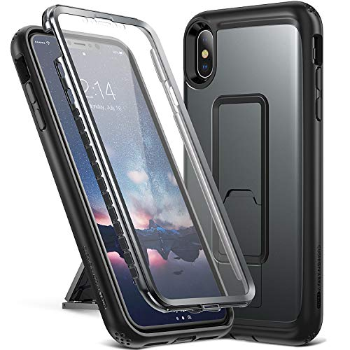 YOUMAKER Kickstand Case for iPhone Xs Max, Full Body with Built-in Screen Protector Heavy Duty Protection Shockproof Slim Fit Cover for All New Apple iPhone Xs Max / 10s Max (2018) 6.5 inch - Black
