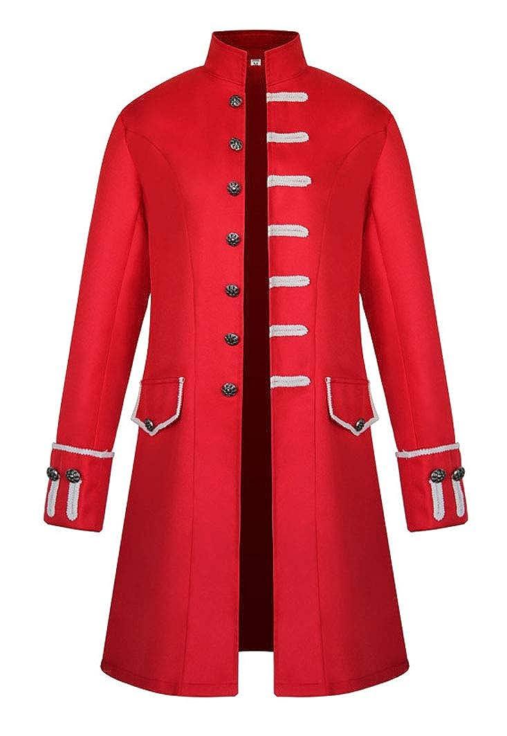 MasaRave Mens Gothic Jacket Steampunk Victorian Jacquard Coat
