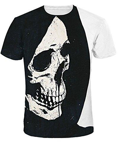 Men 3D Printed Short Sleeve Casual T Shirt Galaxy Space Fashion Couple Tees (Black Skull, XX-Large/XXX-Large) ()