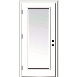 "National Door Company ZZ364628R Fiberglass Smooth, Primed, Right Hand Outswing, Prehung Door, Full Lite, Clear Glass, 36""x80"", Fiberglass"
