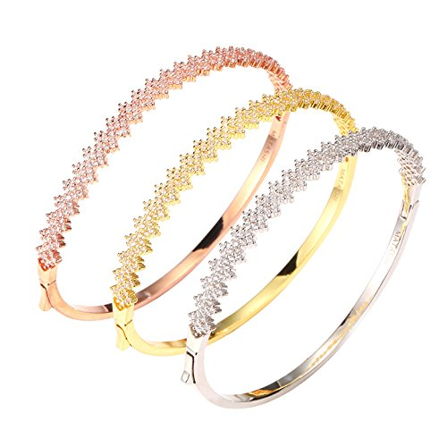 (Matashi Bangle Bracelets for Women (3-Piece Set) Cubic Zirconium Rose Gold, Gold and White Gold-Plated Finish | Cute, Trendy Fashion Jewelry for Ladies, Girls,)