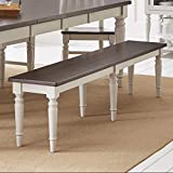 Benzara Wooden Armless Bench with Turned Feet, Brown and Gray, Brown