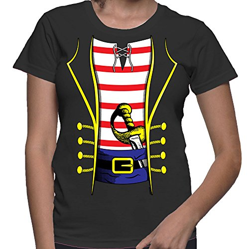 [WOMENS Pirate Costume T-shirt (Large, BLACK)] (Womens Skeleton Costumes Tshirt)