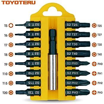 TOYOTERU 17 Piece S2 Screw Driving Bit Set for all driving (B)| Phillips(0-1-2-3), TORX T5, Torx Security Bits(T6-6-7-8-9-10-15-20-25-27-30-T40) Bits