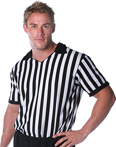 Underwraps Costumes Men's Referee Costume - Shirt, Black/White, (Adult Football Halloween Costumes)