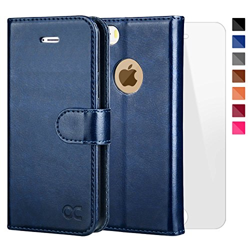 OCASE iPhone 5 Case iphone 5S Case [Free Screen Protector Included] Leather Wallet Flip Case For iPhone 5/5S/SE Devices - Blue