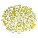 B Blesiya 100Pcs Glass Stone Clear Marbles Fish Tank Pebbles Flat Bottom Round Top Features Decorative Centerpieces Florist Supplies - Transparent Yellow