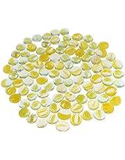 100Pcs Glass Stone Clear Marbles Fish Tank Pebbles Flat Bottom Round Top Features Decorative Centerpieces Florist Supplies - Transparent Yellow