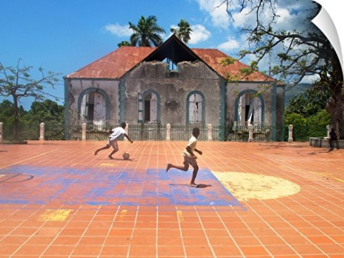 fan products of Canvas on Demand Wall Peel Wall Art Print entitled Young Boys Playing Street Soccer In Haiti 48