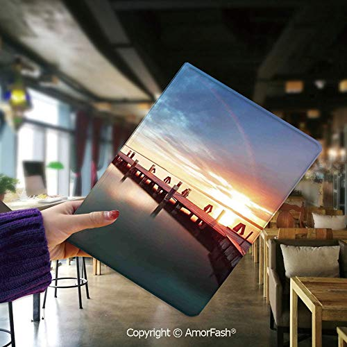 (Flip Folio Stand Case Cover for Samsung Galaxy Tab E 9.6 SM-T560,Lighthouse Decor,Sunset at Seaside with Wooden Docks Lighthouse Clouds Rainbow Waterfront Reflection,Multi)