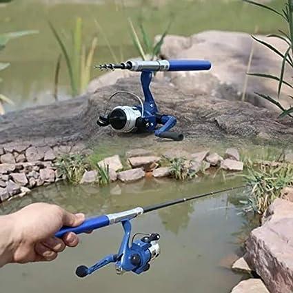 Abilieauty Mini-Angelrute tragbar f/ür Reisen und Angeln blau ausziehbar