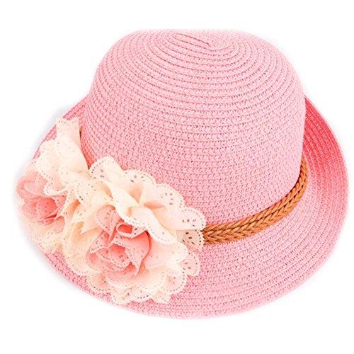 Qianbo Children's Braid Flower Summer Straw Sun Beach Travel Hat Pink