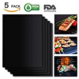 Grill Mat Set of 5- 100% Non-stick BBQ Grill & Baking Mats - FDA-Approved, PFOA Free, Reusable and Easy to Clean - Works on Gas, Charcoal, Electric Grill and More