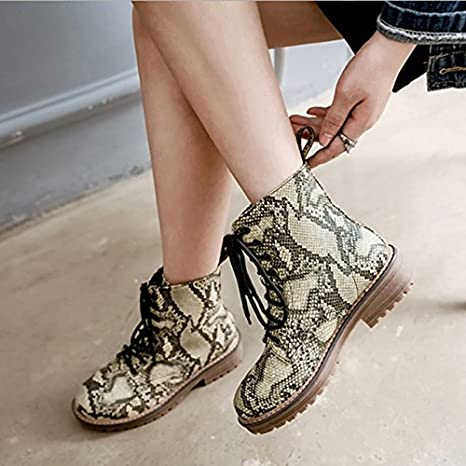 c3245a7dd8db HSXZ Womens Shoes PU Winter Fall Comfort Novelty Combat Boots Boots Null  Flat Round Toe Booties/Ankle Boots Animal Print For Wedding Party Outdoor