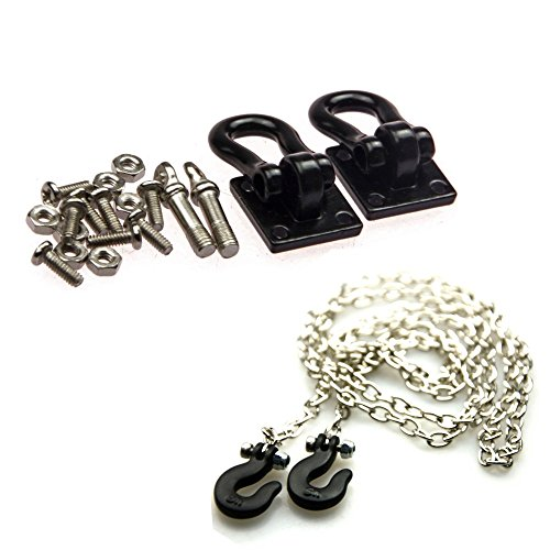 1 Set Black 1/10 Scale Trailer Shackles Mounting Bracket with 890mm Chain Hook for RC Crawler Truck Car Accessory