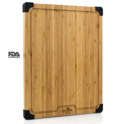 "Large Bamboo Cutting Board With Non Slip Silicone Feet, Natural Organic Bamboo Chopping Board With Groove, 16"" x 12"" Large Cheese Board Butcher Block"