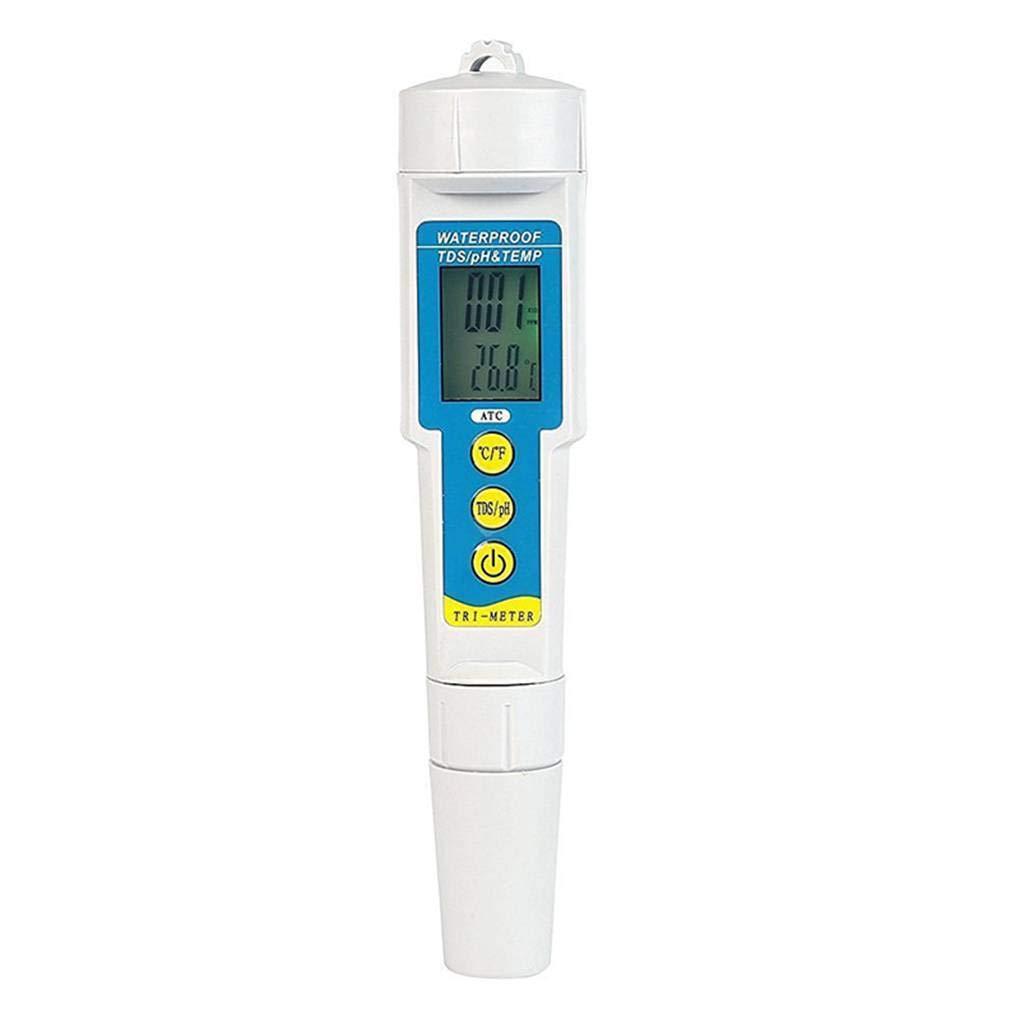 ELENXS PH986 LCD rétro-éclairé Aquarium pH Eau TDS Temp Compteur qualité de l'eau Acidité testeur