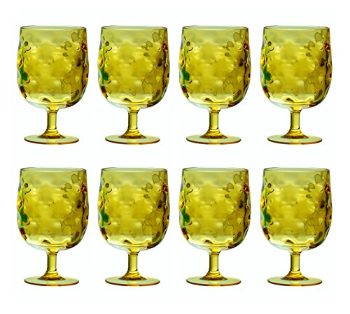 QG Set of 8 Colorful Stackable 12 oz Acrylic Plastic Drinking Glass Tumbler Set Yellow