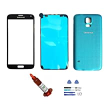 (md0410) Black Front Outer Lens Glass Screen + Blue Back Battery Door Cover Replacement For Samsung Galaxy S5 i9600 G900 + Adhesive + Tools + 5ml UV LOCA Liquid Glue