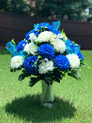 starbouquets Cemetery Vase Arrangement ~ Beautiful Blue and Ivory Chrysanthemum Cemetery Vase Flowers, for a 3 Inch Vase
