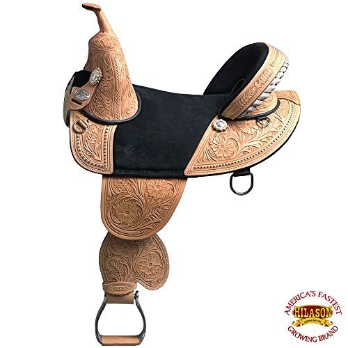 "HILASON 13"" 14"" 15"" 16"" 17"" 18"" Classic Series TREELESS Western Trail Barrel Racing American Leather Saddle TAN/Black/Brown/Mahogany from HILASON"