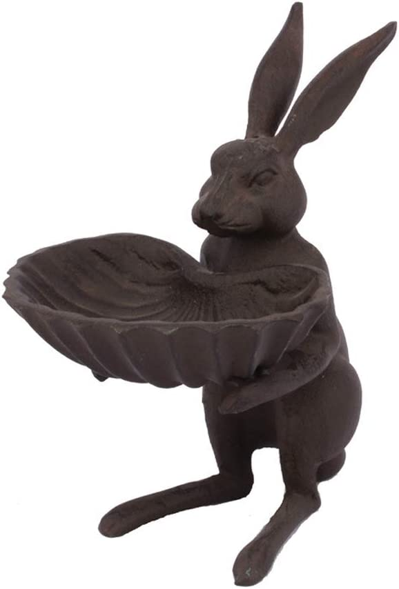 WINTENT Cast Iron Bird Feeder Garden Bird Baths (Rabbit-2)