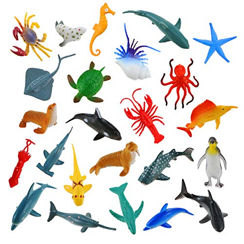 (Bignc 24 Pack Mini Ocean Sea Animal Model Toys Under The Sea Life Figure Bath Toy for Child (Shark, Blue Whale, Starfish, Crab, Etc.))
