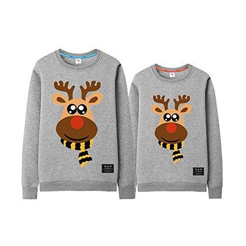 WAZZIT Cute Christmas Deer Print Couple Sweaters Men's Sweatshirt ()