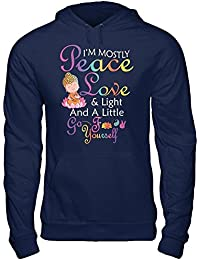 Funny I'm Mostly Peace Love & Light And A Little Go F Yourself Yoga T-shirt Gildan - Pullover Hoodie Navy,Black