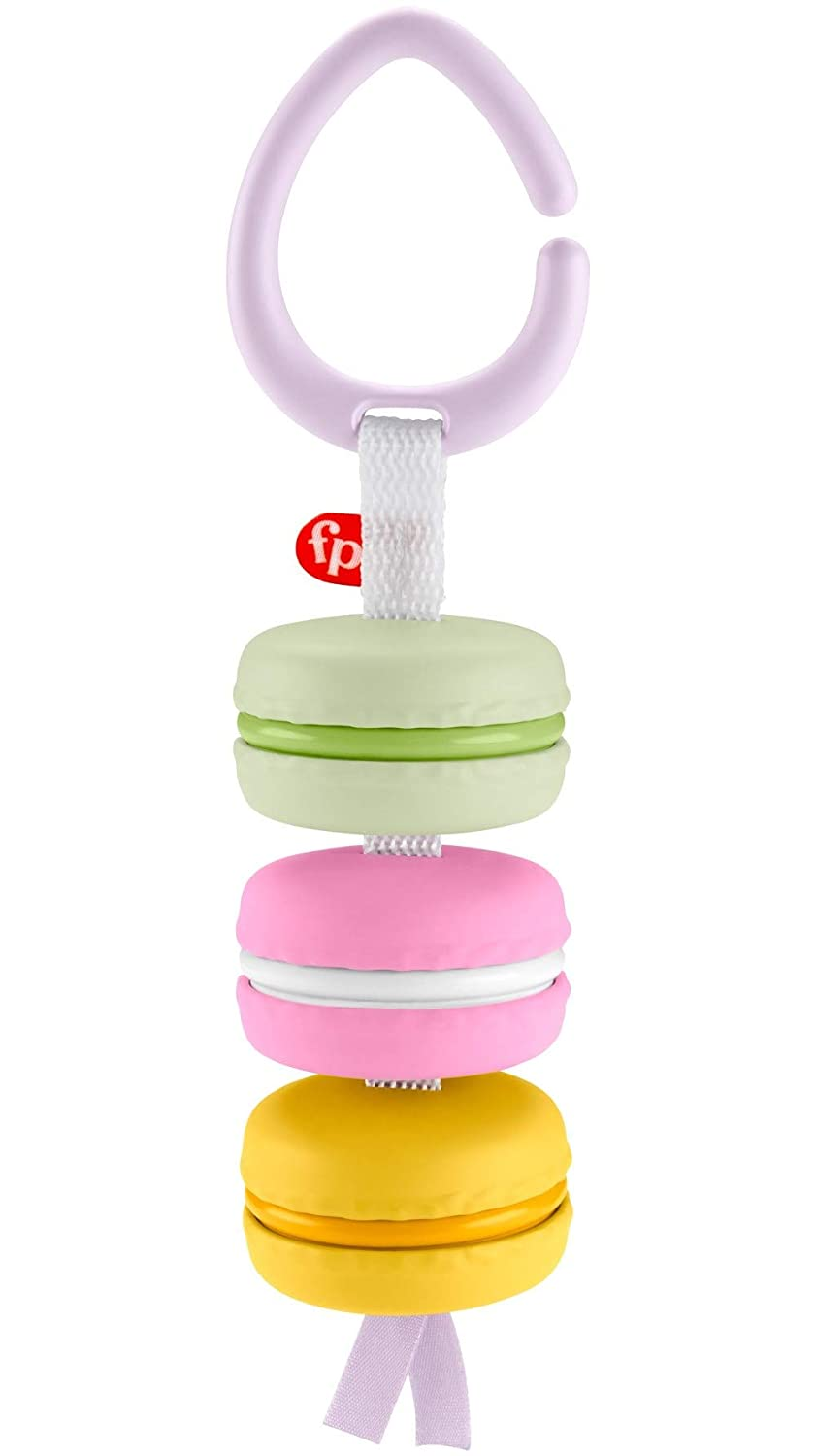 Fisher-Price My First Macaron, Pretend Food Take-Along Baby Rattle Activity Toy