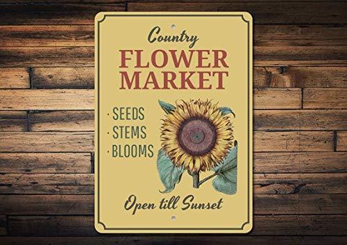 Sunflower Sign, Sunflower Decor, Sunflower Garden Lover Gift, Flower Market Sign, Garden Decor, Greenhouse Sign, Metal Aluminum Sign, 8
