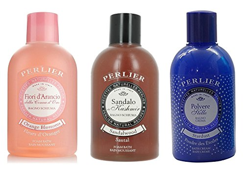 Perlier: Set of 3 Foam Bath, Assorted Scents (Sandalwood, Orange Blossoms, Stardust) - 33.8 Fluid Ounces (1000mL) Bottle (Pack of 1 Each) * [ Italian Import ]