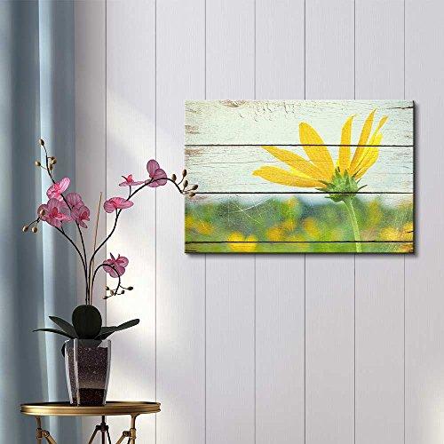 Bright Yellow Flower on Farm Rustic Floral Arrangements Pastels Colorful Beautiful Wood Grain Antique