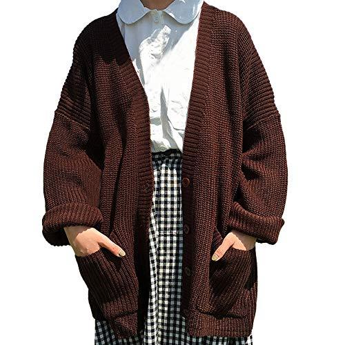 Fashionhe Women Korea Style Cardigan Pocket Coat Long Sleeve Knit Sweater Button Jumper Loose Outwear(Brown,One Size)