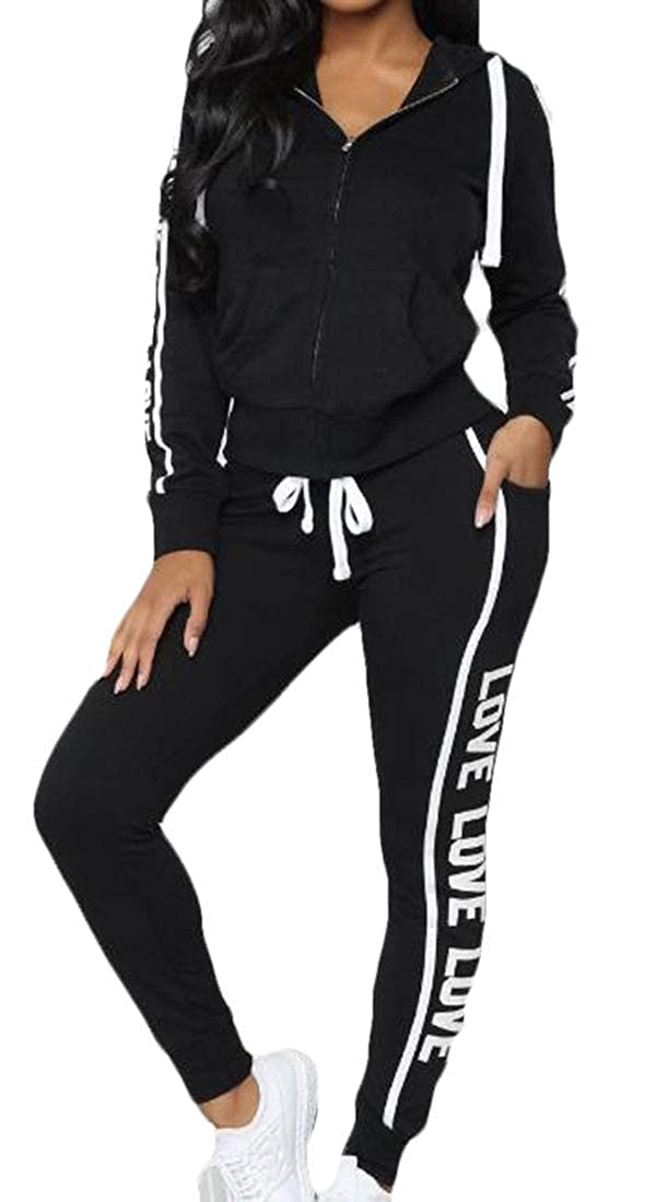 CRYYU Women Velvet Zip-up Hooded Jacket Jogging Pants Sweatsuit 2 Piece Set