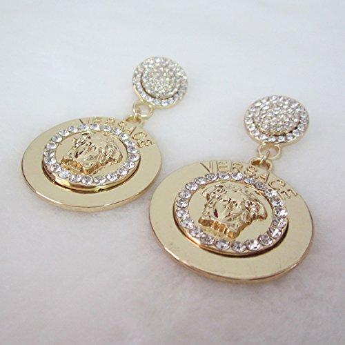 usongs big retro metal Medusa human head disc diamond earrings earrings earrings women girls personality accessories