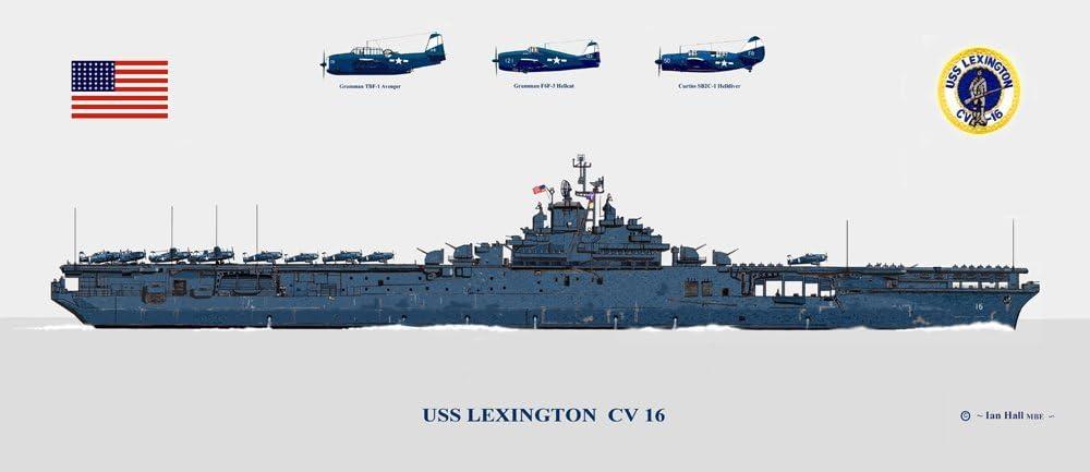 Amazon.com: USS Lexington CV 16 with Aircraft Print: Posters & Prints