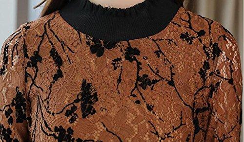 lunghe coda e vestito colore autunno a Abito vita vestito sezione del lunga di a in maniche nella era pizzo pesce primavera sottile SLR caramello della moda 7zPEn