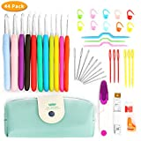 Upala 44 Pack Crochet Hooks Set with Case, 9 Large Eye Blunt Needles for Knitting, Ergonomic Handle Crochet Hooks for Arthritic Hands - Best Gift!