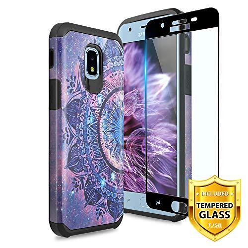 TJS Galaxy J7 2018/J7 Refine/J7 Star/J7 Eon/J7 TOP/J7 Aero/J7 Crown/J7 Aura/J7 V 2nd Gen Case [Full Coverage Tempered Glass Screen Protector] Dual Layer Hybrid Shockproof Phone Case Armor (Mandala)