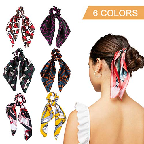 6Pcs Hair Scrunchies Silk Elastic Hair Bands Hair Scarf Ponytail Holder Scrunchy Ties Vintage Accessories for Women Girls