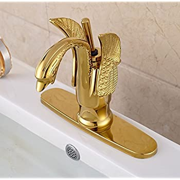 "Rozin® Gold Color Single Lever Swan Shape Bathroom Basin Faucet with 8"" Holes Cover Plate"