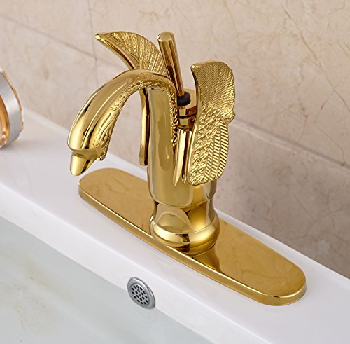 Rozin Gold Color Single Lever Swan Shape Bathroom Basin Faucet with 8