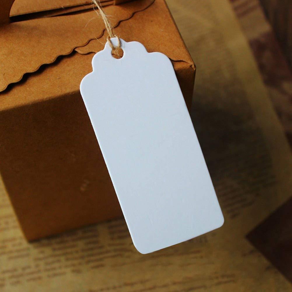 Rettangolare Bianco 20/M Corda di Canapa Taglia Libera Etichette per Regali Dyda6/100pcs Carta Kraft Senza cartellini Fai da Te bomboniere Cards Etichette di Prezzo Etichetta Bagagli Tag
