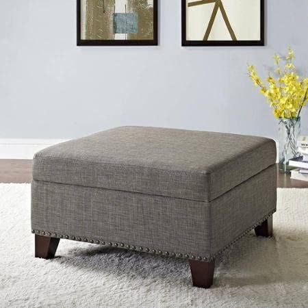 Better Homes and Gardens Grayson Linen Square Ottoman with Nailheads Gray Gray