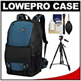 Lowepro Fastpack 350 Backpack Digital SLR Camera Case (Arctic Blue) + Tripod + Accessory Kit for Canon EOS 70D, 6D, 5D Mark III, Rebel T3, T5i, SL1, Nikon D3100, D3200, D5200, D7100, D600, D800, Sony Alpha A65, A77, A99, Best Gadgets