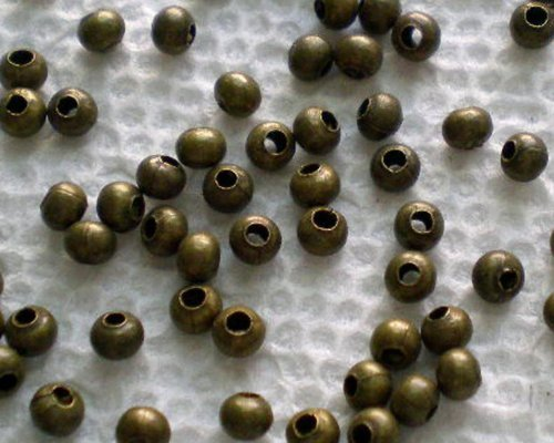 Round Filigree Metal Beads - Beautiful Bead 500pcs Antique Bronze Tiny Metal Spacer Round Beads 3.2mm